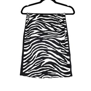 WHBM Black White Zebra Print Pencil Skirt 00